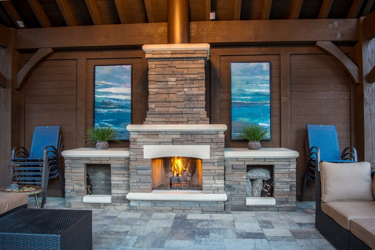 fireplace privacy wall pavilion