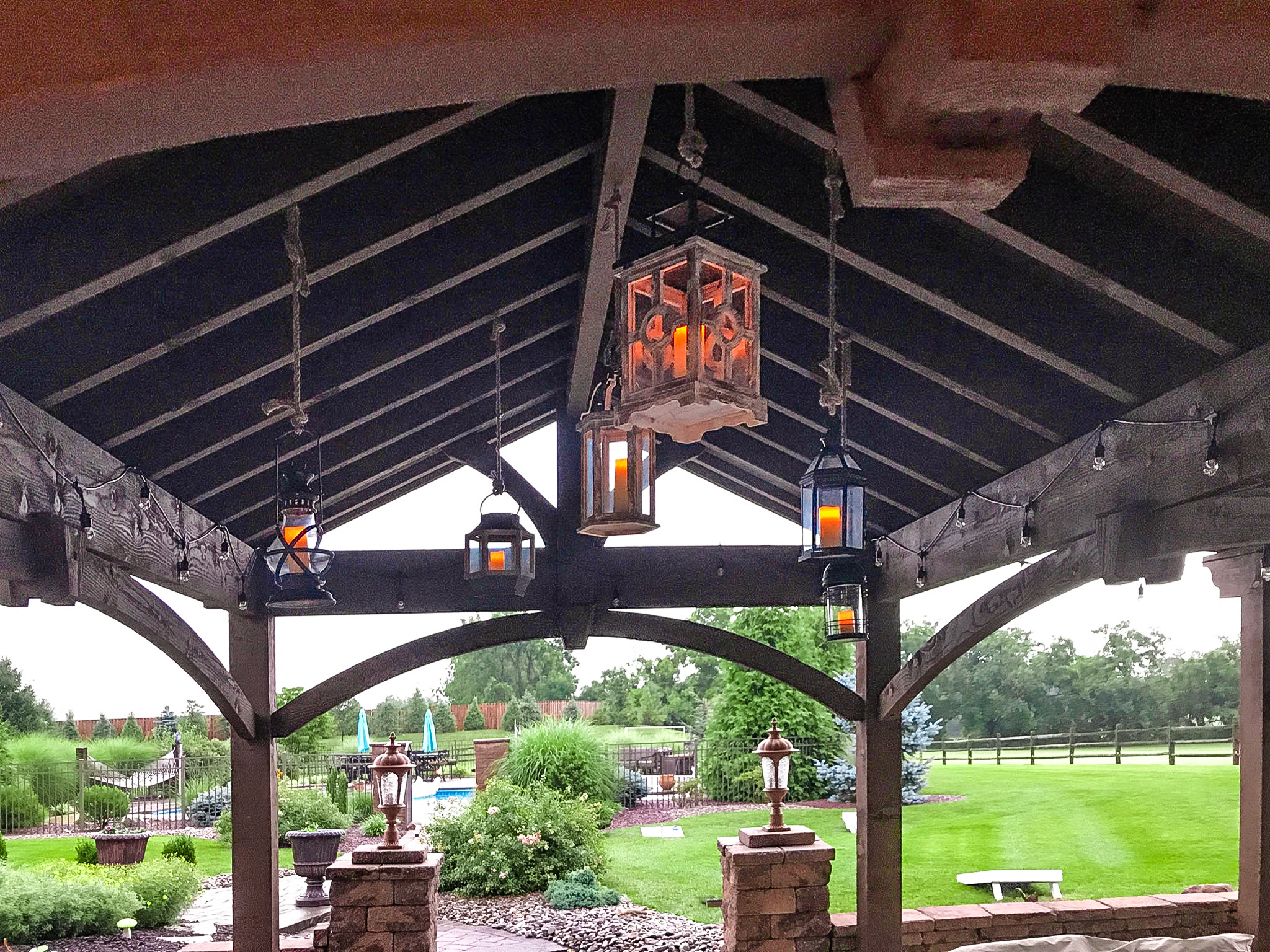 Lanterns from pavilion roof hang