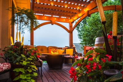 pergola deck furniture fire pit