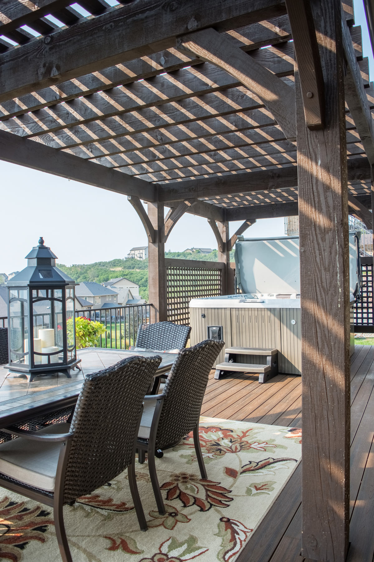 lattice walls hot tub deck