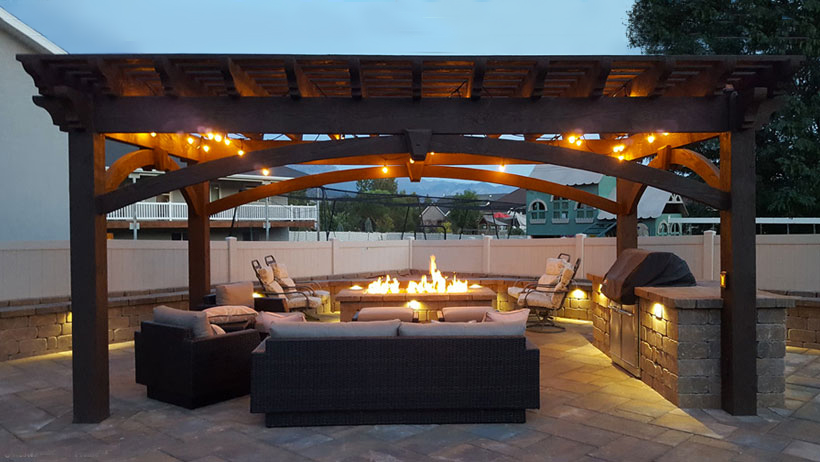 pergola fire pit barbecue