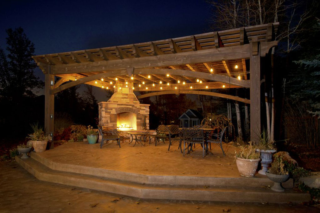 The flickering ... - Add Fire W/Outdoor Fireplace DIY Pergola Western Timber Frame