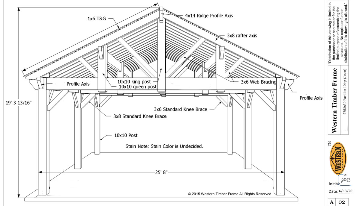 3rd gable pavilion w privacy wall fireplace western for Diy timber frame plans