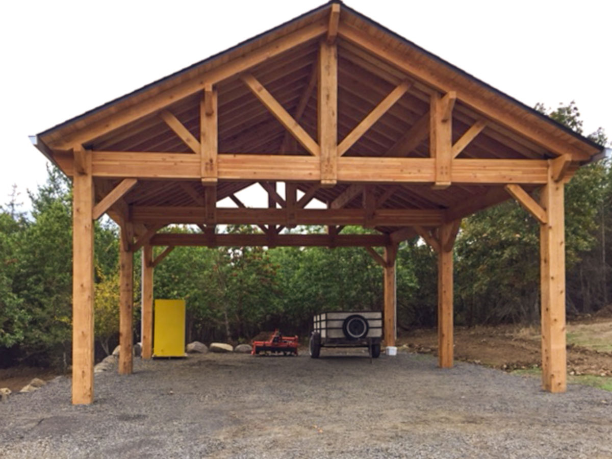Cedar timber frame pavilion car port