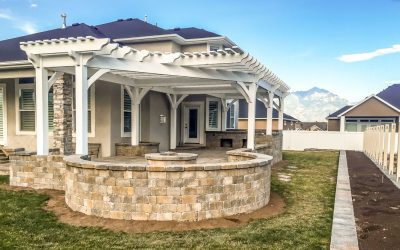 inverted roof pergola with fire pit