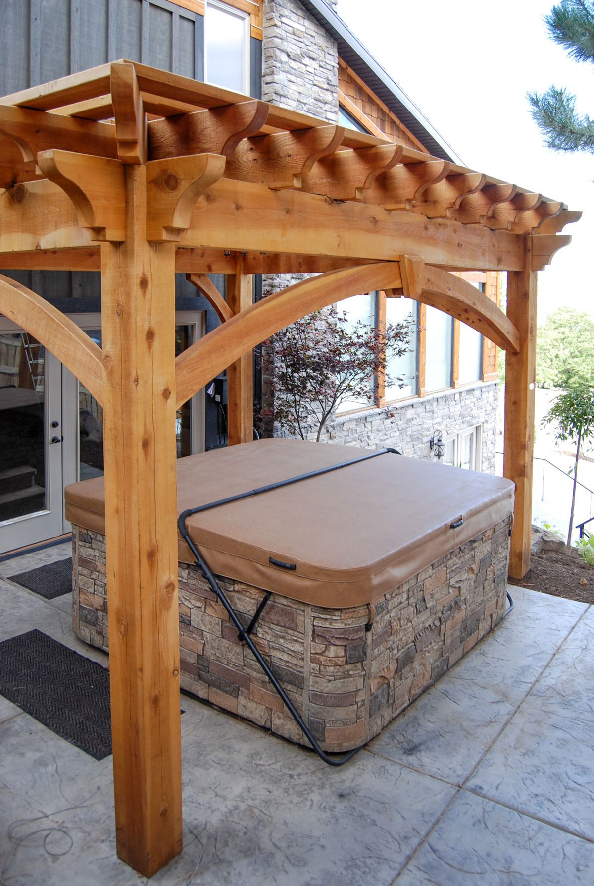 cedar pergola over hot tub - Cedar Easy DIY Pergola Hot Tub Cover Western Timber Frame