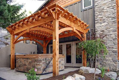 hot tub with cedar pergola