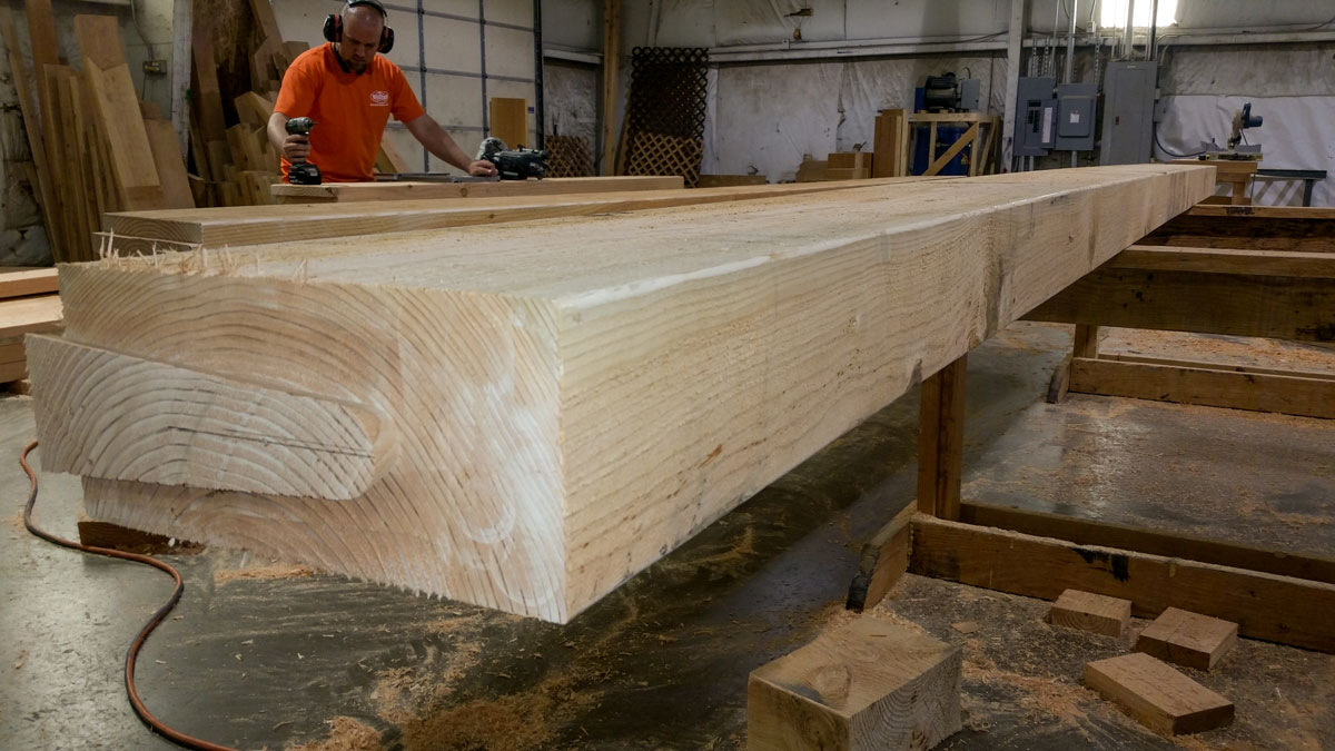 cutting the timber