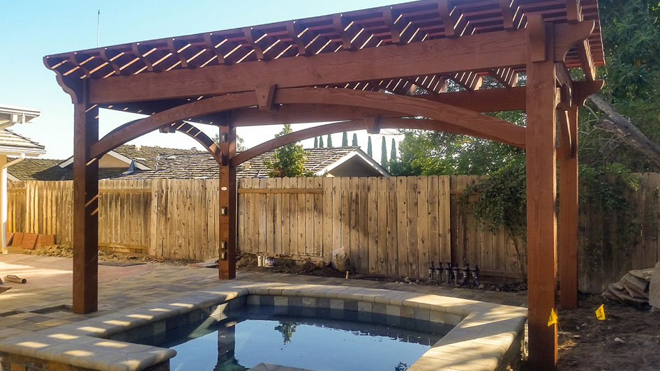 pergola over backyard pool area - Early American Pool Shade Kit Install Western Timber Frame