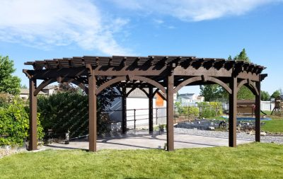 Seven post pergola in backyard.