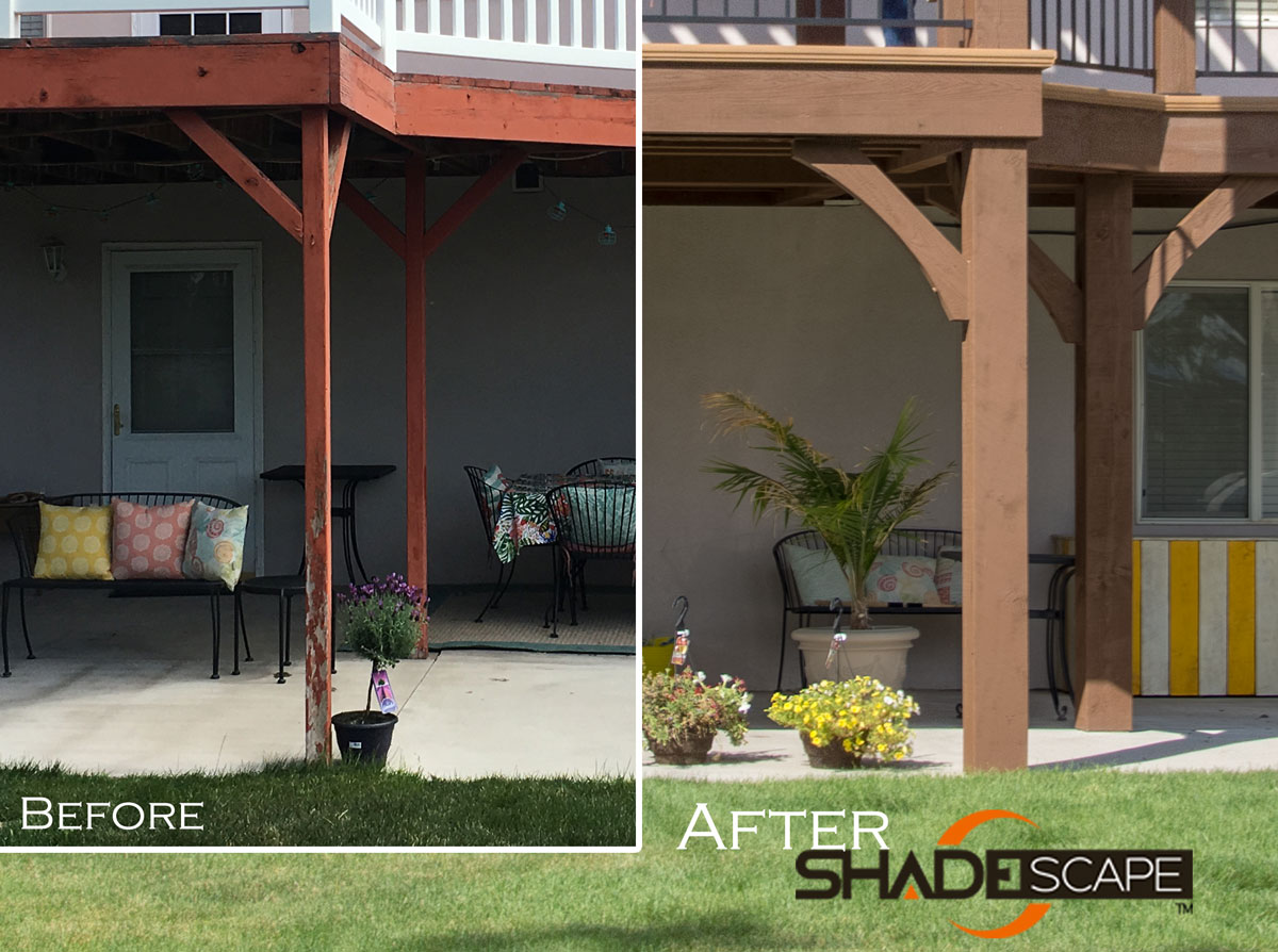 Before after deck pergola install