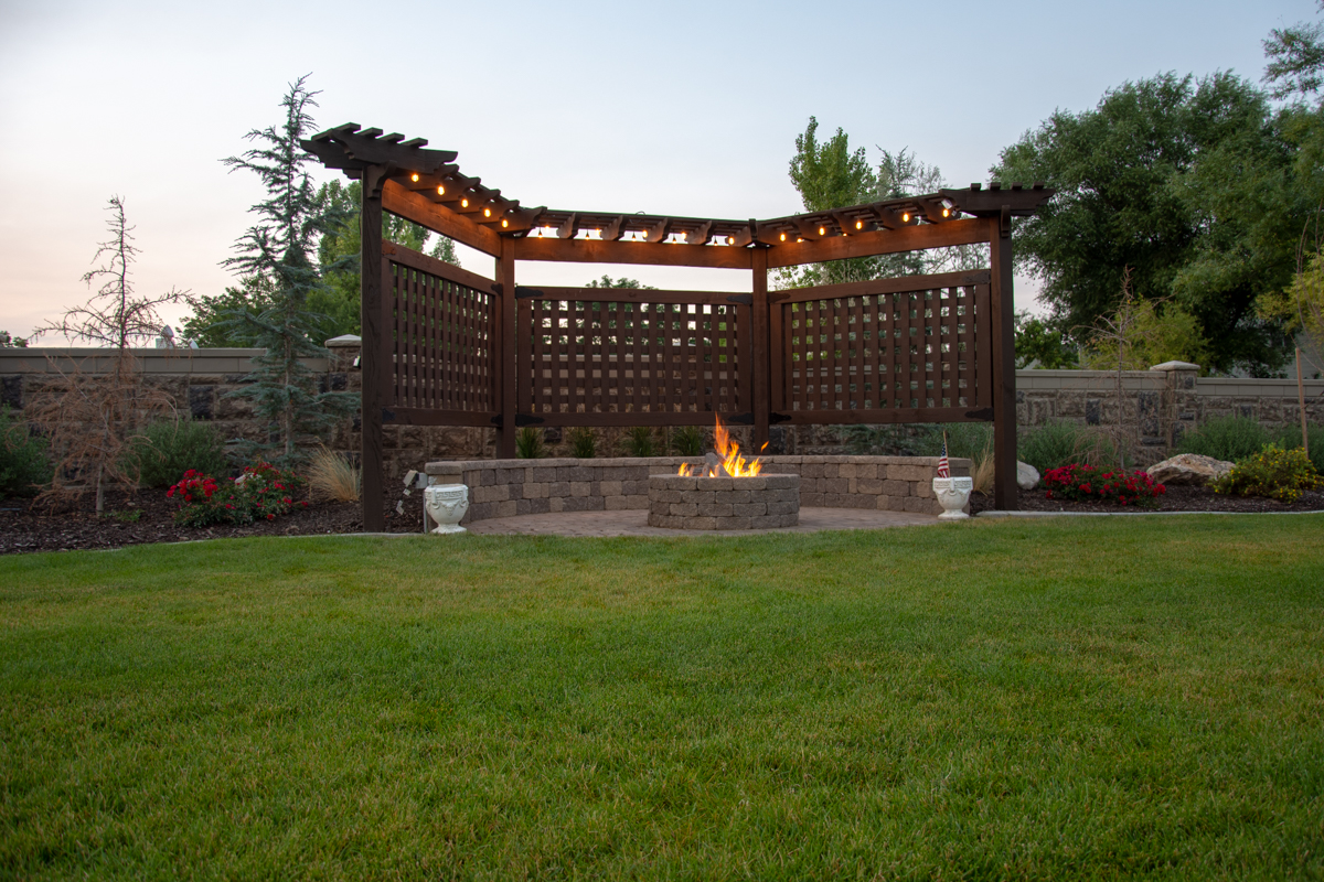 Trellis with lights and fire pit