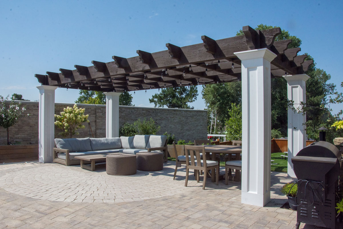 white posts lights pergola