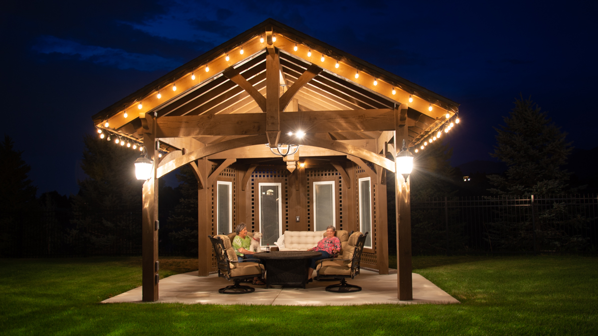 timber frame pavilion with windows