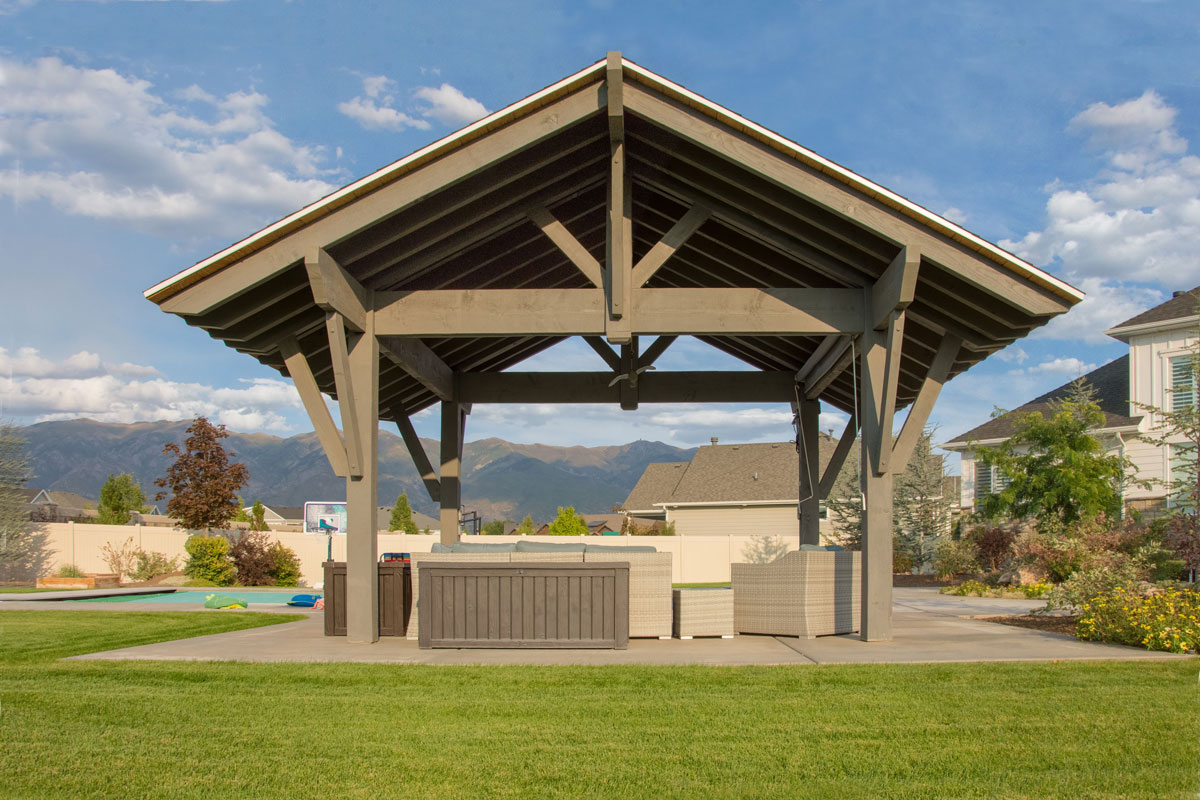 Contemporary style pavilion for poolside shade