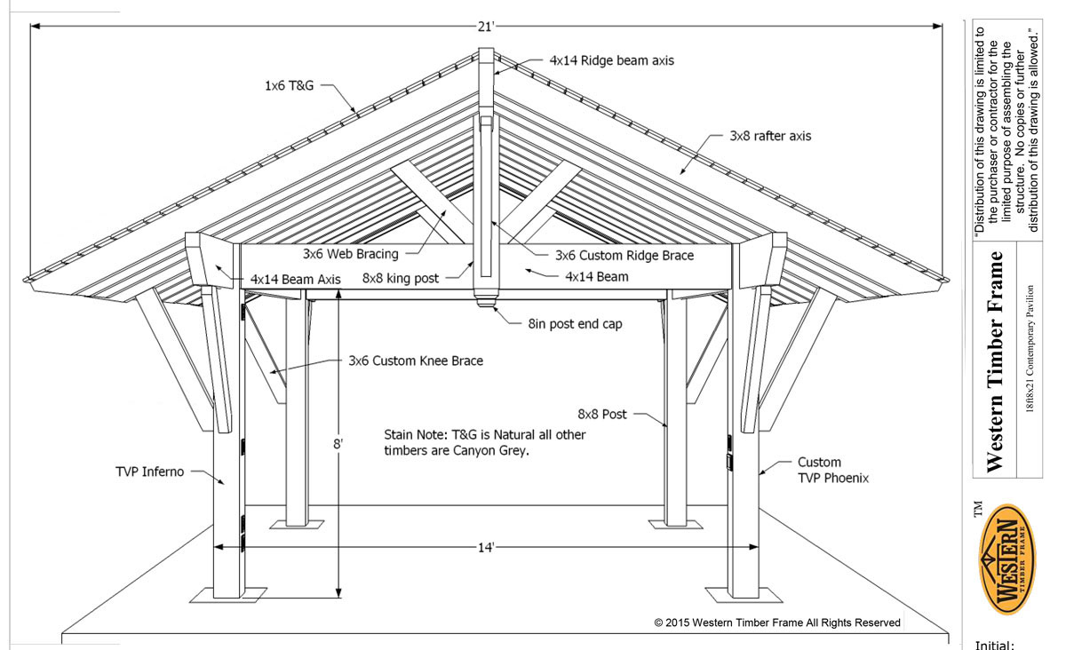 Unique diy pavilion plan utilized for pool shade western for Diy timber frame plans