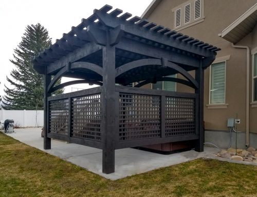 Rich Black Pergola w/Latticed Privacy Walls Hot Tub Cover