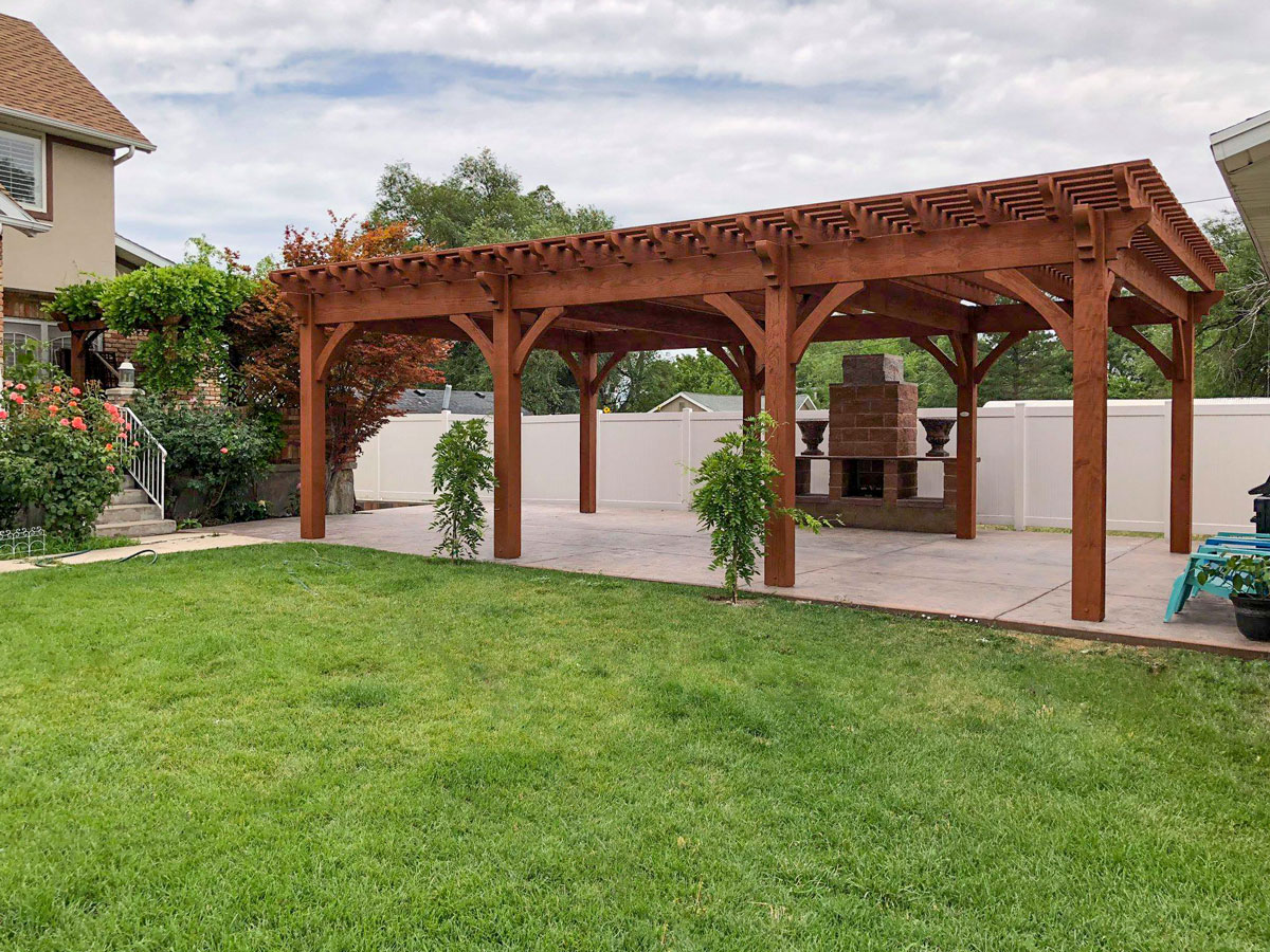 rich sequoia 6 post pergola