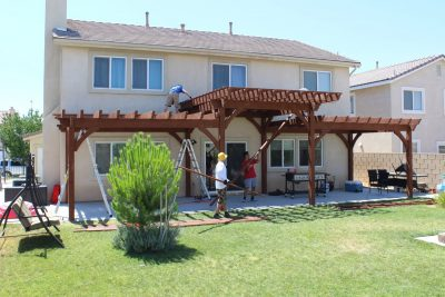 Tier step pergola installed