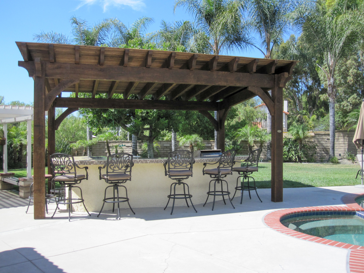 outdoor pergola over kitchen