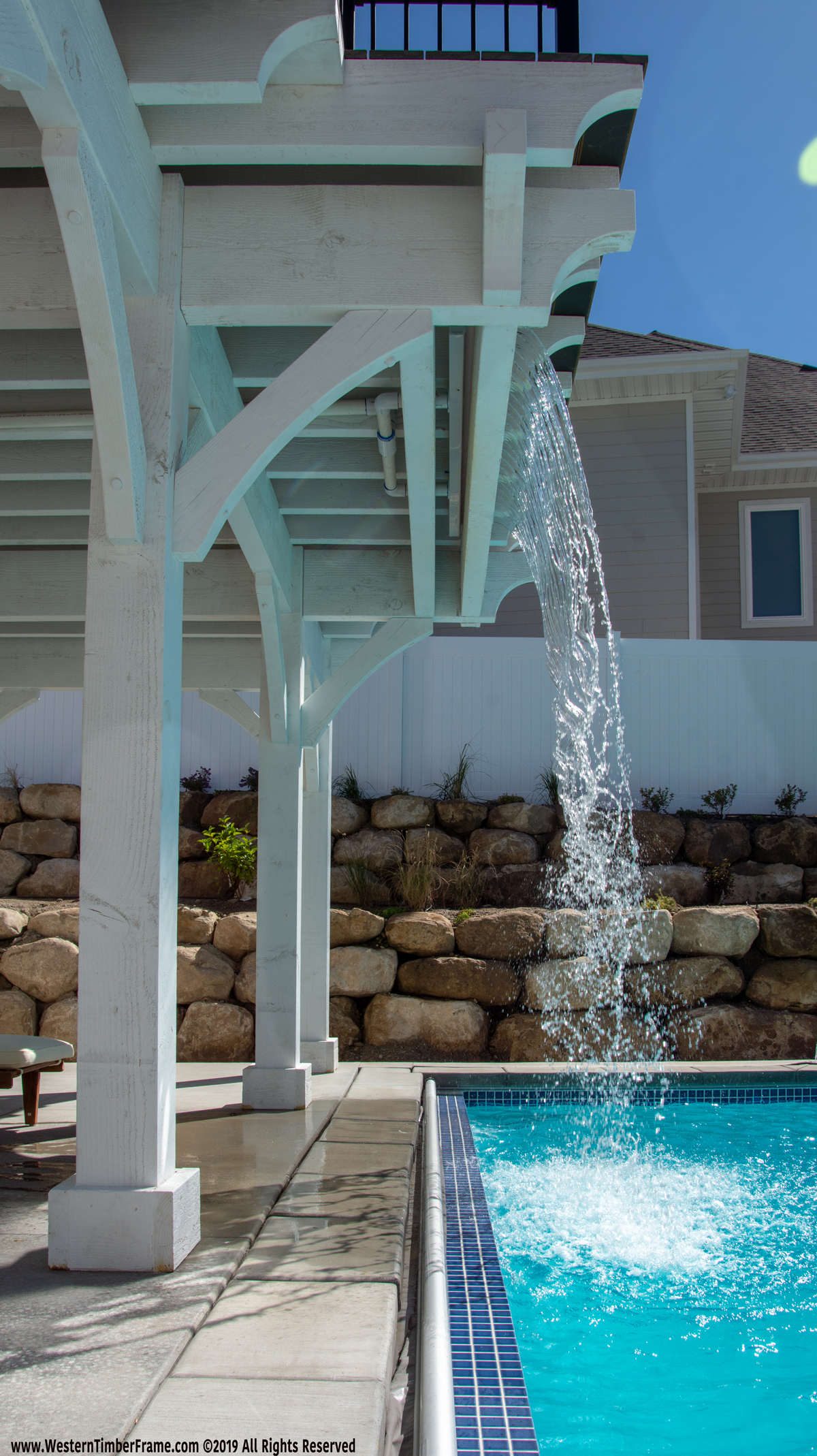 diving pavilion deck waterfall