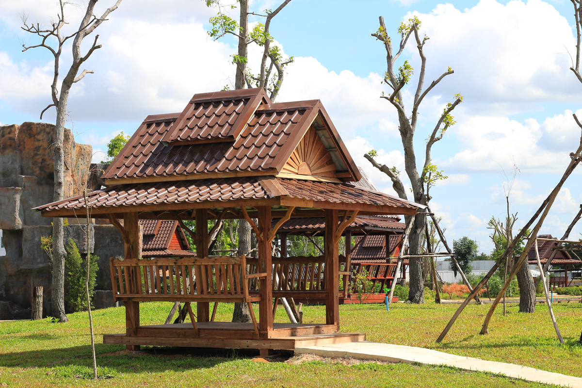 thailand wood pavilion with built in benches