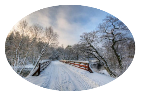 winter timber frame bridge