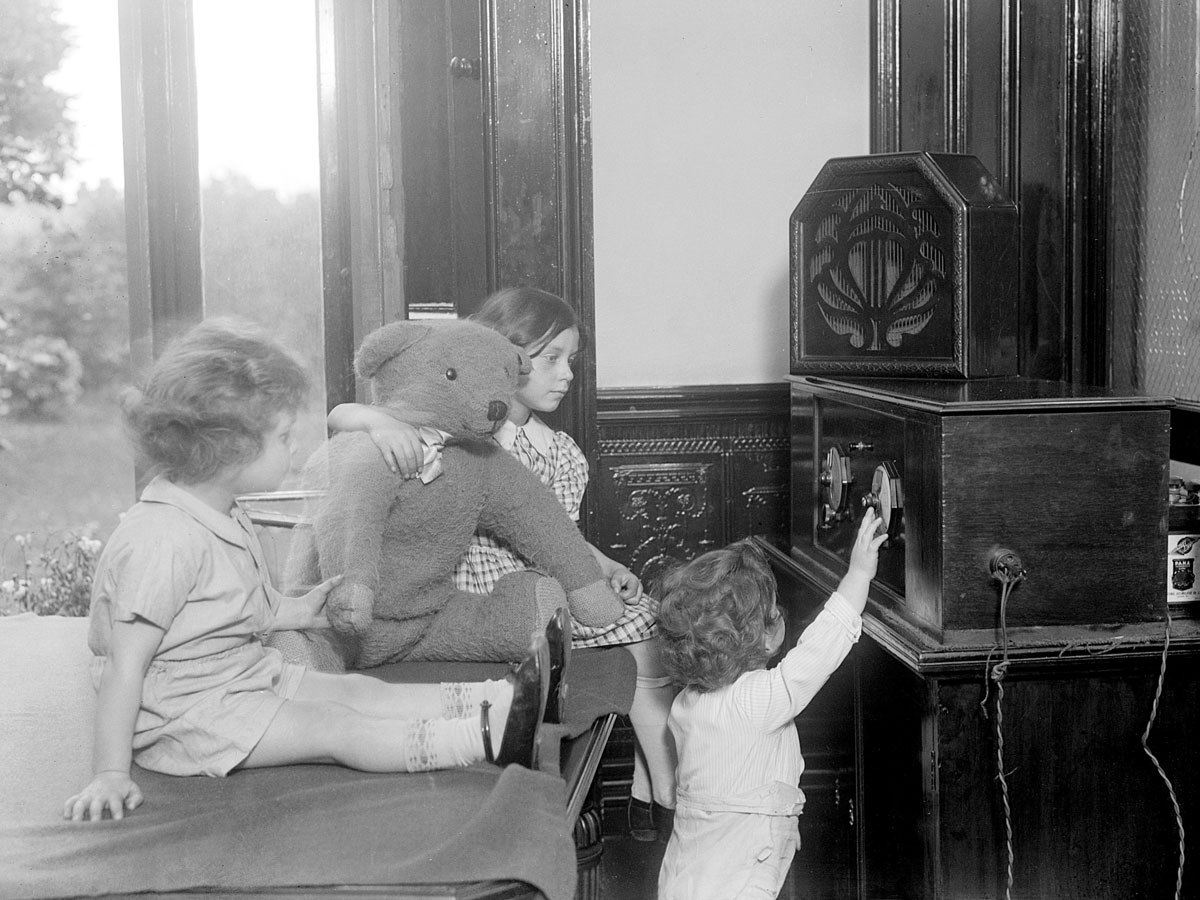 children listening to old time radio
