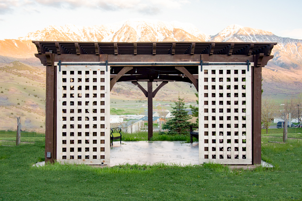 latticed doors on pergola