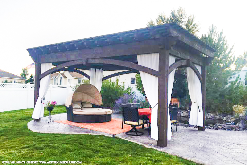 sleeping outdoors under pergola bed