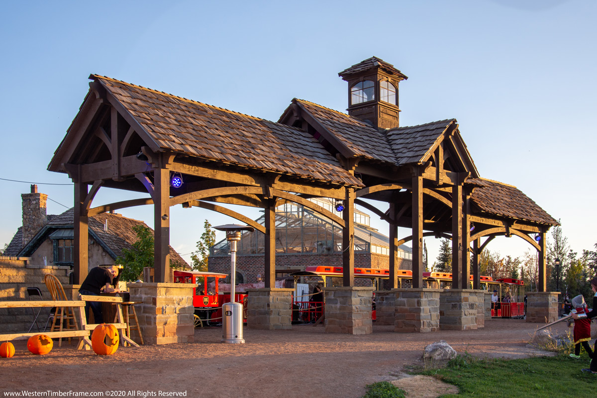 Timber frame train station at Evermore Park