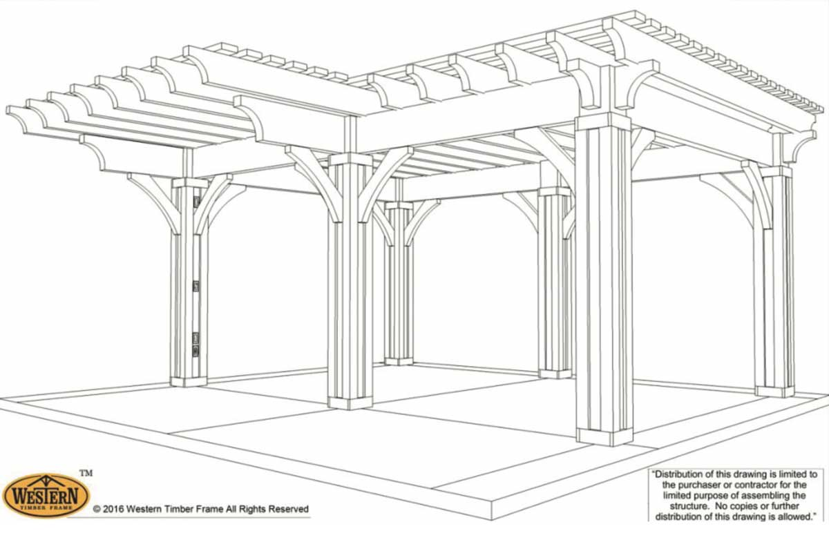 diy pergola plan with cantilevered roof design