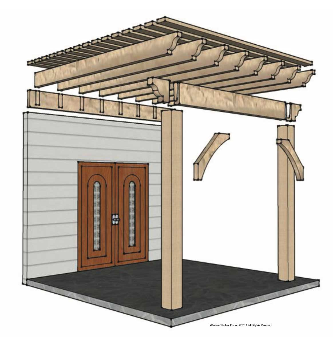 exploded attached pergola plan
