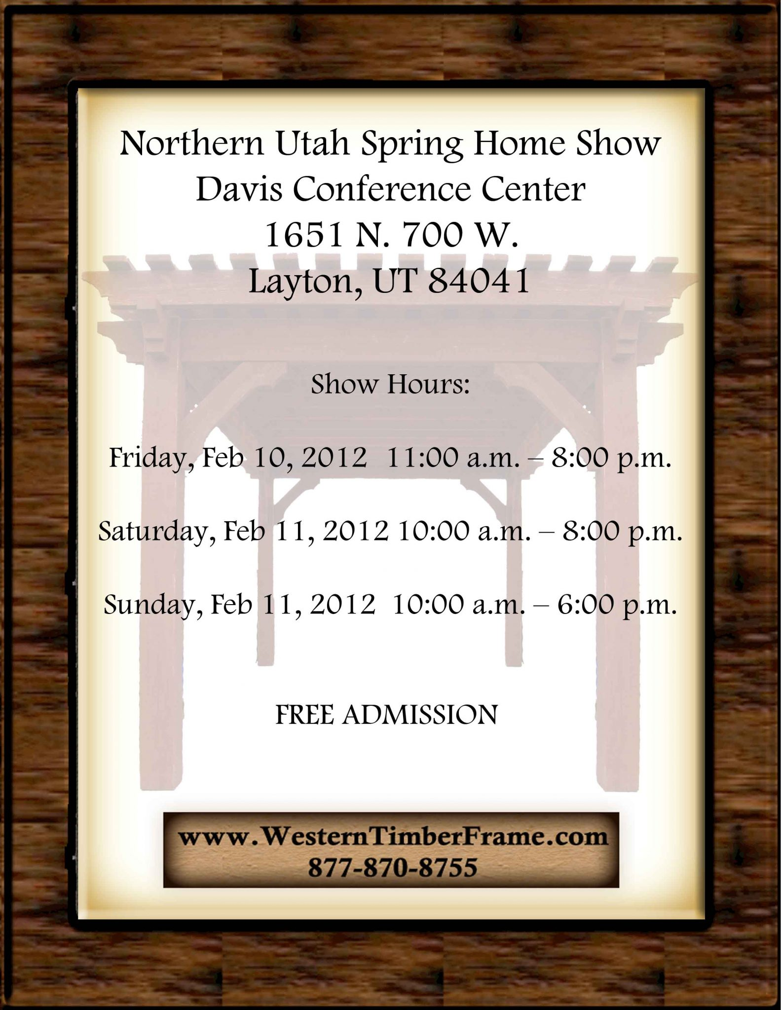 Northern Utah Spring Home Show Western Timber Frame