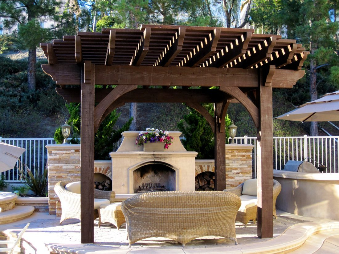 install a diy timber frame pergola over a fireplace or fire pit